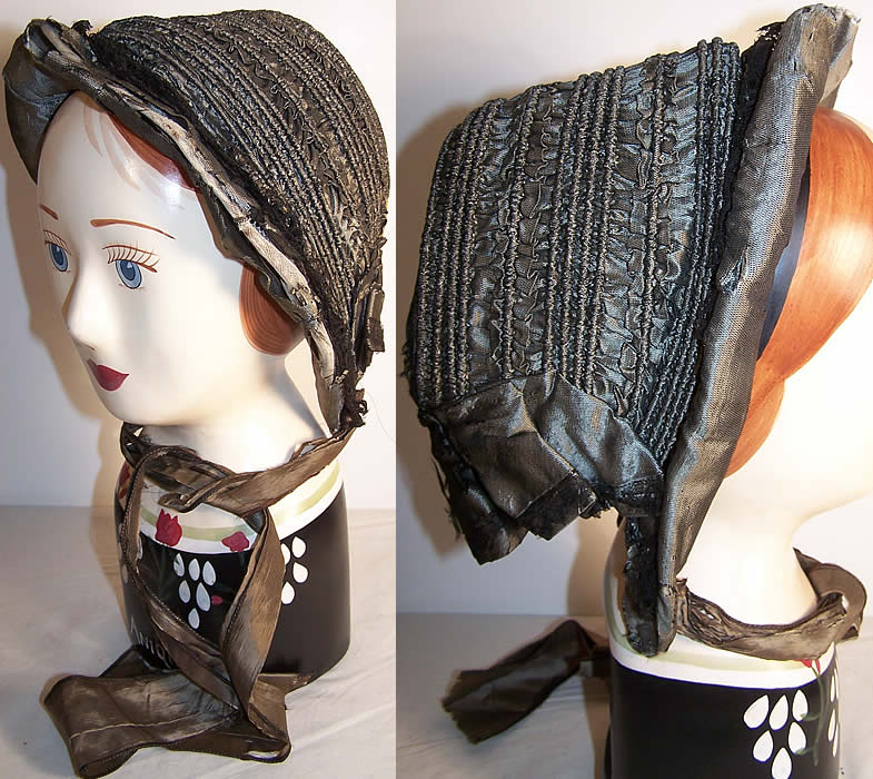 Victorian Civil War Era Gray Silk Drawn Shirred Bonnet  Front view.