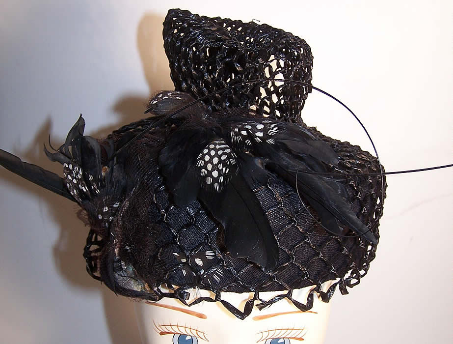 Mildred Black Straw Bird Feather Toque Hat Back View.