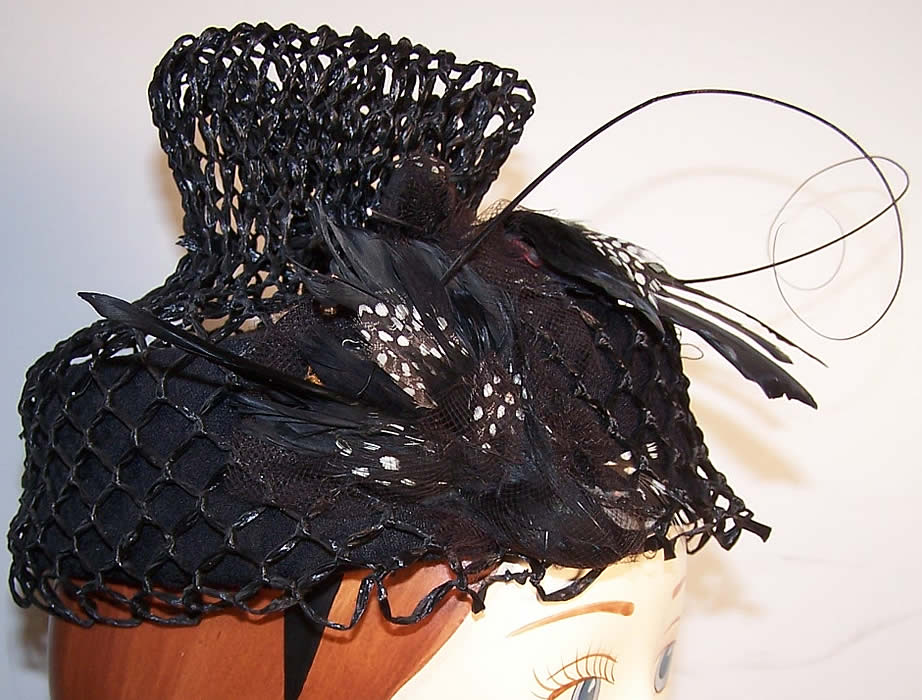 Mildred Black Straw Bird Feather Toque Hat side view.