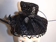 Mildred Black Straw Bird Feather Toque Hat