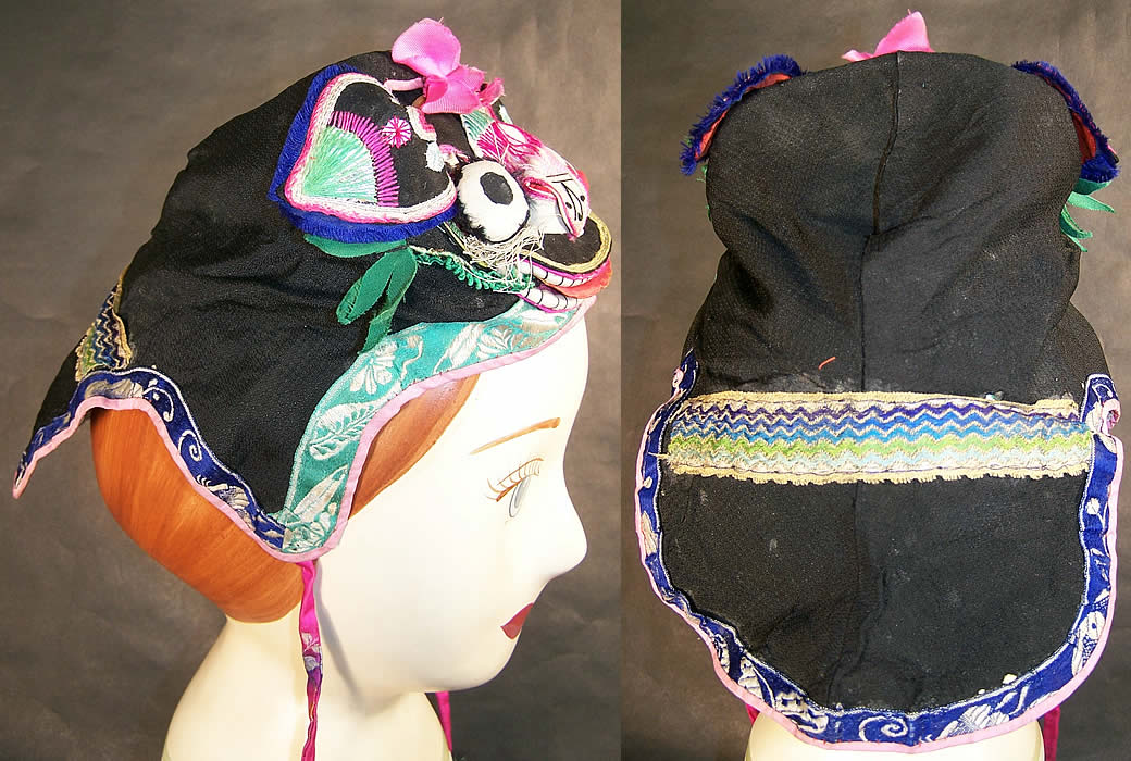 Chinese Child Infant Silk Applique Tiger Wind Hat Back View.