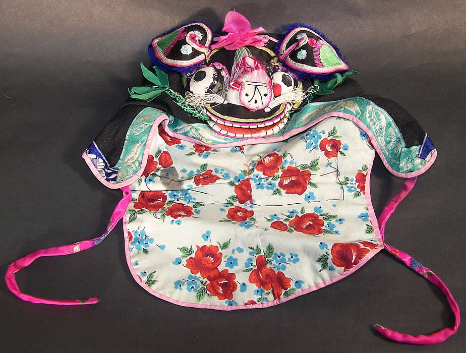 Chinese Child Infant Silk Applique Tiger Wind Hat Close up.