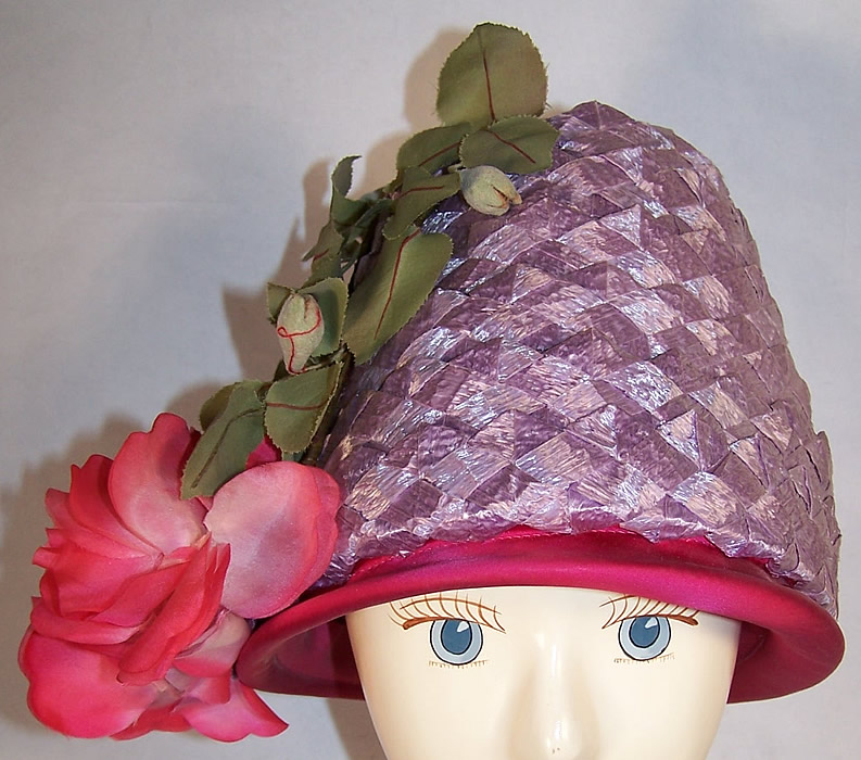 Vintage Michael Terre Purple Straw Flower Pot Cone Hat  Back View.