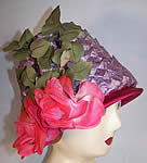 Vintage Michael Terre Purple Straw Flower Pot Cone Hat