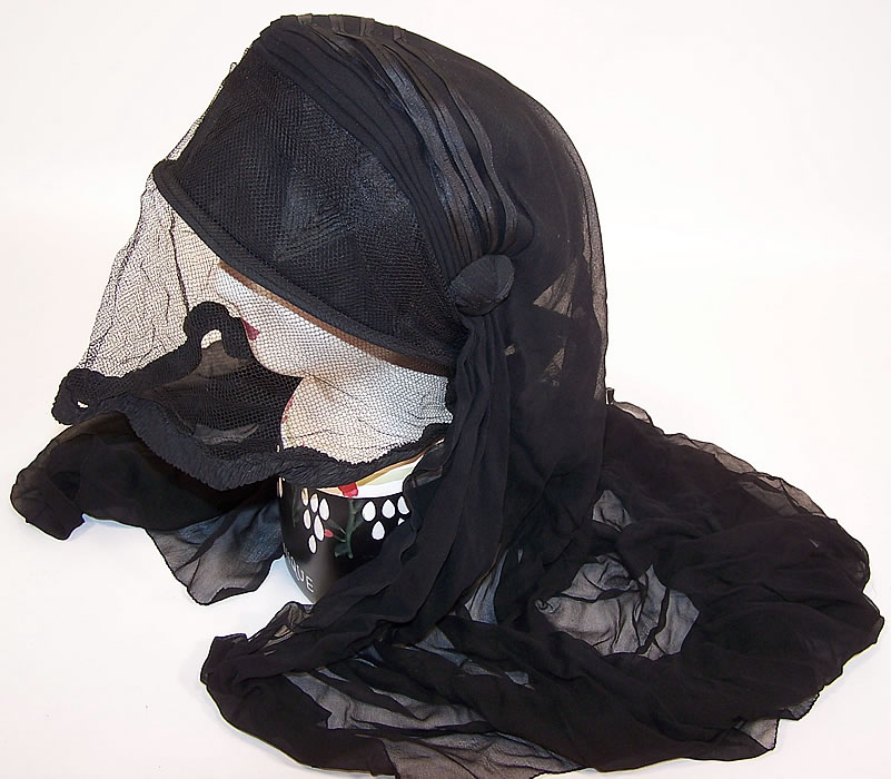 Edwardian WWI Black Silk Veiled Mourning Bonnet Cloche Hat side view.