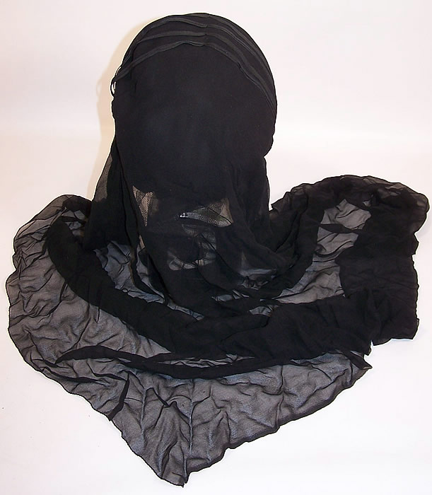 Edwardian WWI Black Silk Veiled Mourning Bonnet Cloche Hat back view