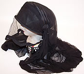 Edwardian WWI Black Silk Veiled Mourning Bonnet Cloche Hat