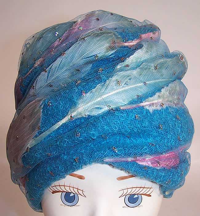 Vintage Christian Dior Turquoise Blue Net Feather Glitter Turban Hat