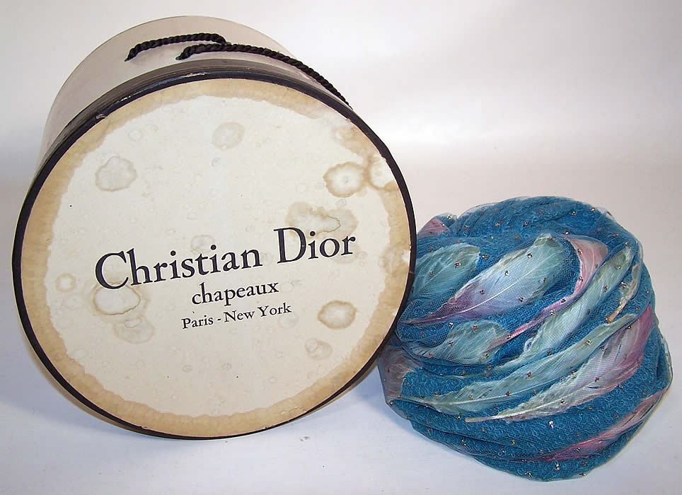 Vintage Christian Dior Turquoise Blue Net Feather Glitter Turban Hat & Box
