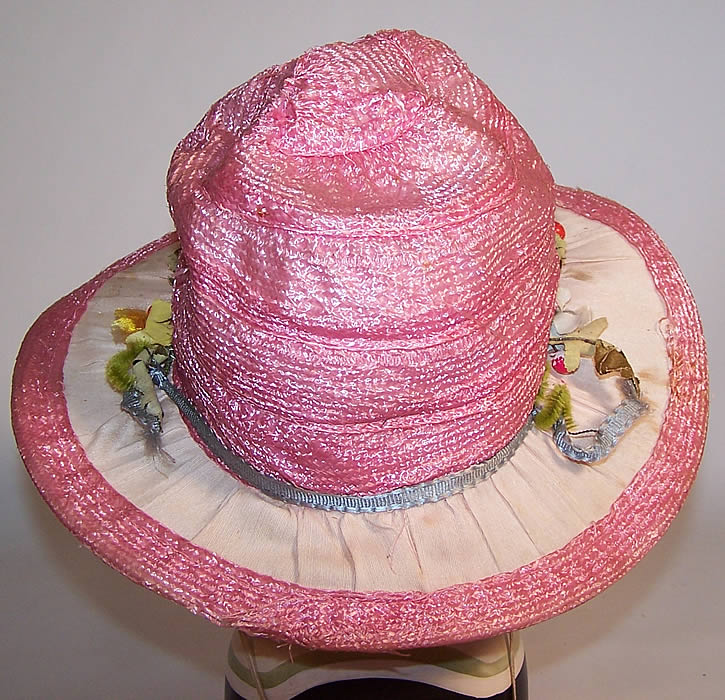 Vintage Girls Belle Epoque Pink Raffia Woven Silk Floral Trim Cloche Hat