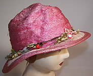 Vintage 1920s Girls Belle Epoque Pink Raffia Woven Silk Floral Trim Cloche Hat