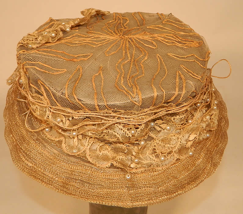 Edwardian Natural Straw Wired Net Lace Pearl Beaded Trim Toque Hat