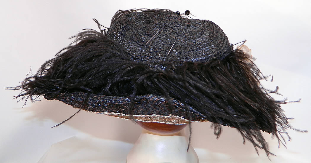 Edwardian Woven Black Straw Ostrich Feather Wide Brim Hat