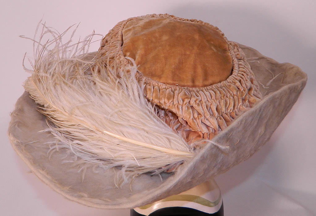 Edwardian Titanic Cream Velvet White Beaver Felt Fur Feather Wide Brim Hat. This is truly a dramatic opulent ladies Titanic era hat and a wonderful piece of wearable millinery art!