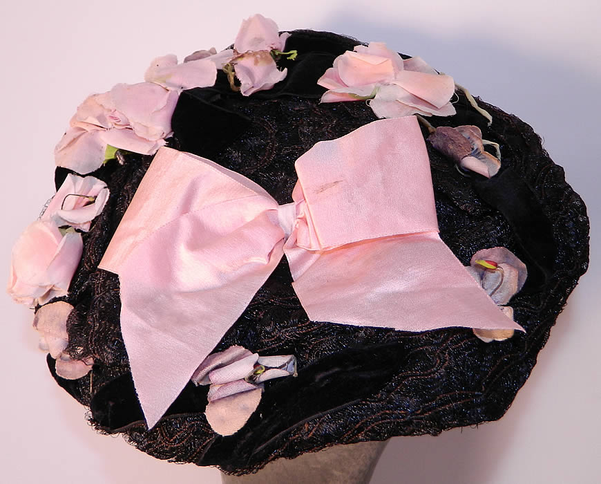 Victorian Black Straw Pink Pansy Rose Flower Bow Trim Bonnet Flat Plate Hat. This is truly a wonderful piece of wearable millinery art!