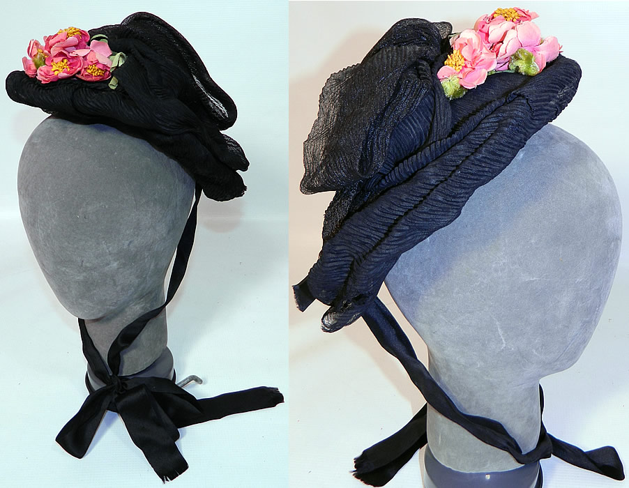 Victorian Black Silk Crepe Pink Flower Trim Mourning Bonnet Hat. This antique Victorian era black silk crepe pink flower trim mourning bonnet hat dates from the 1880s. It is made of a sheer black silk crepe textured fabric base, with gathered draping, bows.