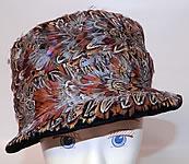 Vintage Womens Black Velvet Pheasant Feather Fedora Hat
