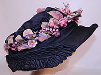 Vintage Edwardian Black Silk & Natural Straw Floral Garland Trim Wide Brim Hat