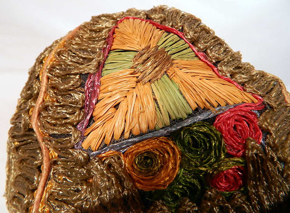 Vintage Colorful Straw Raffia Ribbon Work Embroidered Flapper Cloche Hat. This is truly a wonderful piece of wearable millinery art!