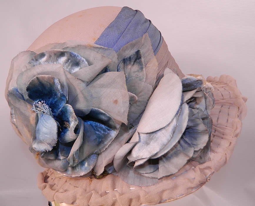 Vintage Maurice Importer Gray & Blue Silk Rose Flower Wide Brim Cloche Hat. The hat measures 23 inches inside crown circumference.