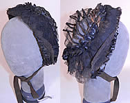 Victorian Civil War Era Black Net Ribbon Trim Mourning Bonnet Snood Headdress