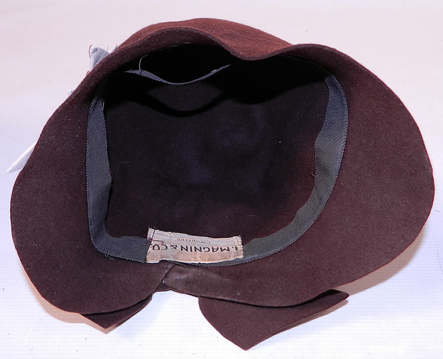 Vintage I Magnin & Co Brown Wool Felt Fall Maple Leaf Flapper Cloche Hat. This is truly a wonderful piece of wearable Art Deco textile art!