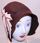 1920s Vintage I Magnin & Co Brown Wool Felt Fall Maple Leaf Flapper Cloche Hat