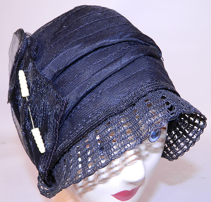Vintage Art Deco Woven Black Horse Hair Straw  Flapper Cloche Hat & Hatpin. The hat is made of a sheer woven black horse hair net straw, with a loosely woven lattice lace slight front brim.