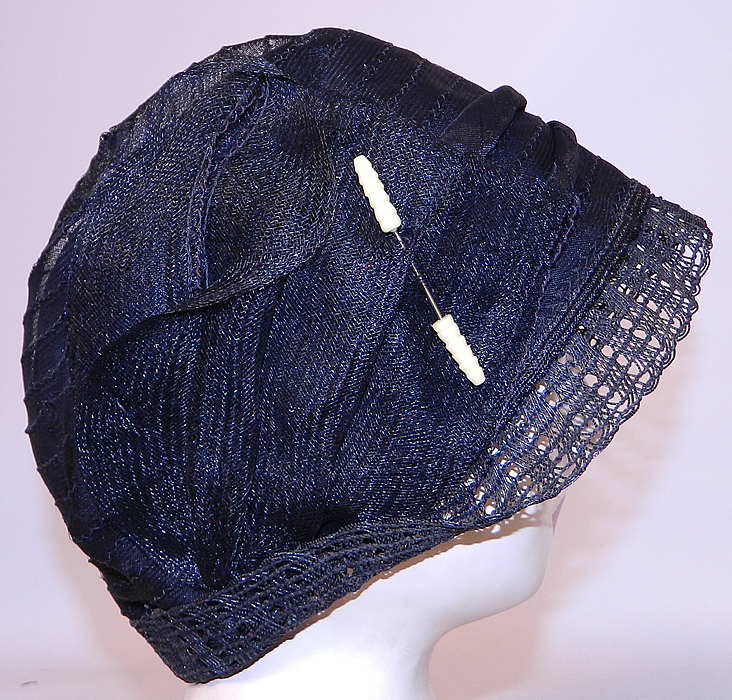 Vintage Art Deco Woven Black Horse Hair Straw  Flapper Cloche Hat & Hatpin. There is a spindle turned style celluloid hatpin trim pinned onto the side.