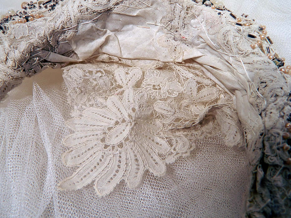 Antique Brussels Bobbin Lace Beaded Tiara Crown Headpiece Net Wedding Veil. It is in good  condition.
