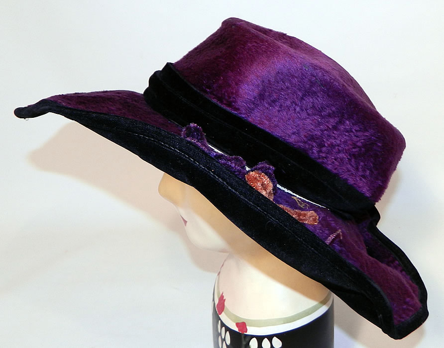 Edwardian Vintage Wolf Millinery Purple Velvet Flower Trim Wide Brim Hat. This Edwardian era vintage Wolf Millinery purple velvet flower trim wide brim hat dates from 1918