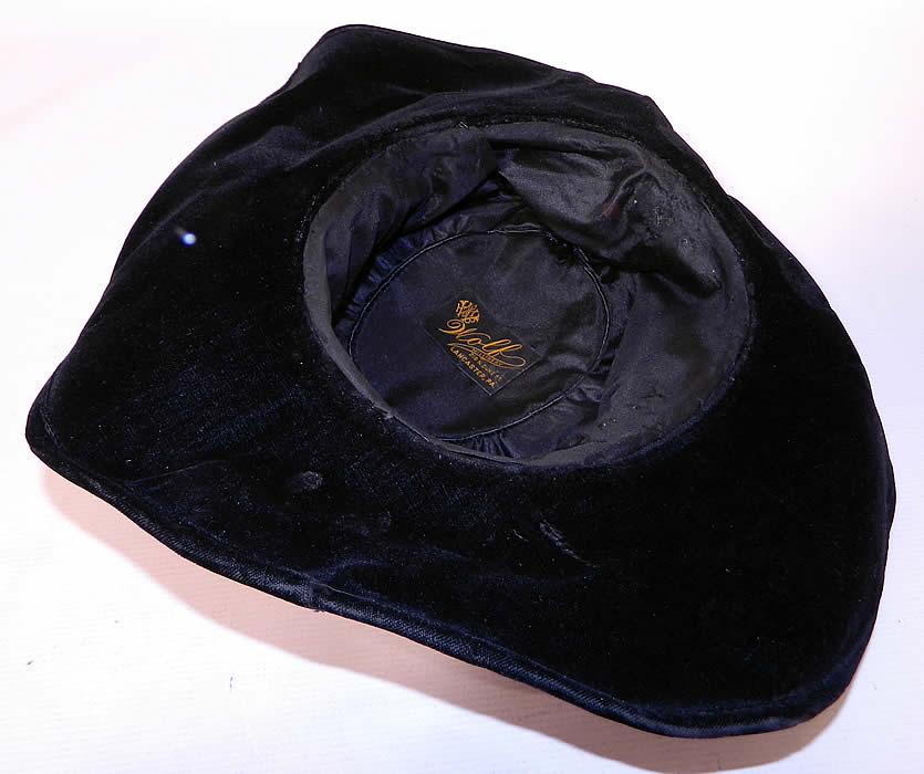 Edwardian Vintage Wolf Millinery Purple Velvet Flower Trim Wide Brim Hat. It is in good condition.  This is truly a wonderful piece of quality made wearable textile millinery art!