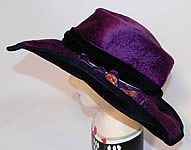 Edwardian Vintage Wolf Millinery Purple Velvet Flower Trim Wide Brim Hat