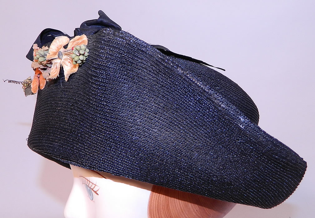 Edwardian Black Straw Orange Silk Velvet Floral Trim Upturned Wide Brim Hat. This beautiful black hat has an upturned wide brim front and smaller upturned back brim.