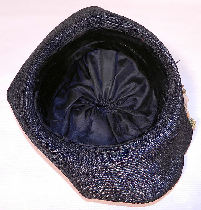 Edwardian Black Straw Orange Silk Velvet Floral Trim Upturned Wide Brim Hat.It is fully lined in a black silk fabric inside the crown.
