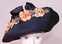 Edwardian Black Straw Orange Silk Velvet Floral Trim Upturned Wide Brim Hat