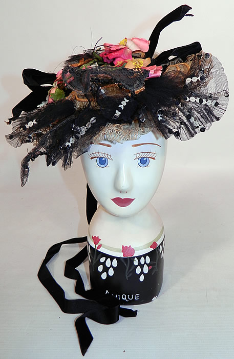 Victorian Black & White Wired Net Sequin Straw Silk Trim Fancy Floral Bonnet Hat Pin. This antique Victorian era black and white wired net sequin straw silk trim fancy floral bonnet hat pin dates from 1900.