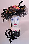 Victorian Black & White Wired Net Sequin Straw Silk Trim Fancy Floral Bonnet Hat