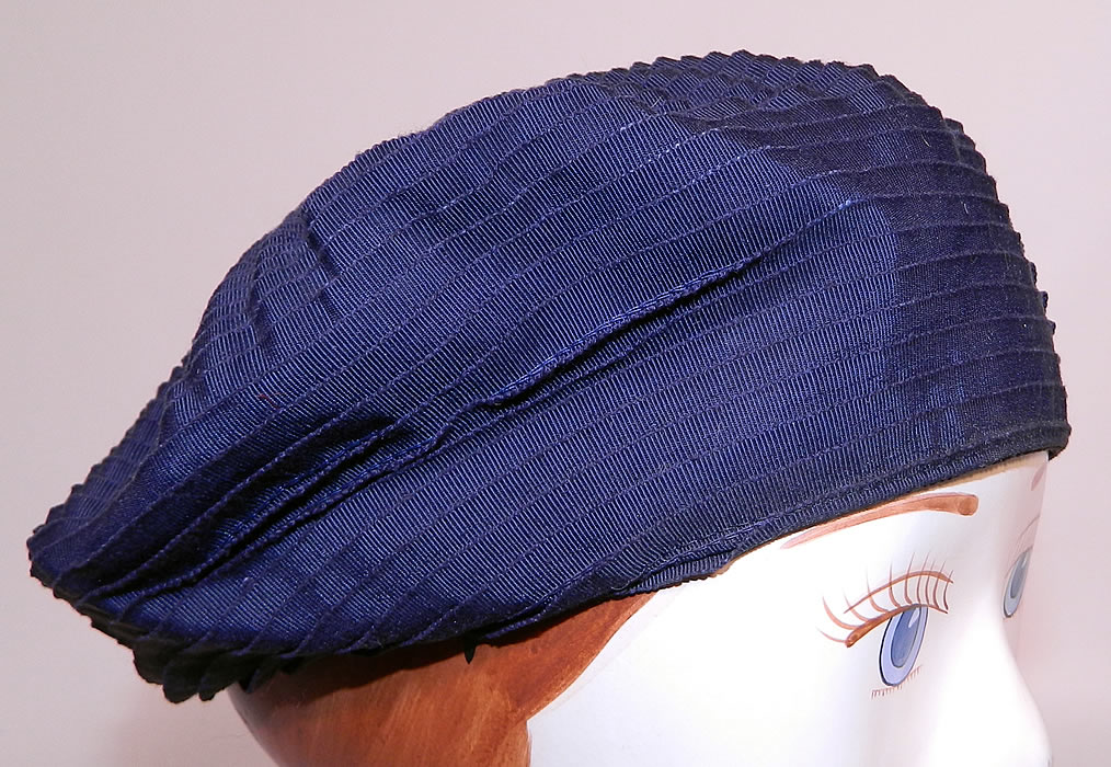 Vintage Eva Mae Navy Blue Pleated Beret Tam Hat & Italian Micro Mosaic Brooch Pin. This beautiful beret style ladies tam hat has a unique layering of ribbon work pleating.