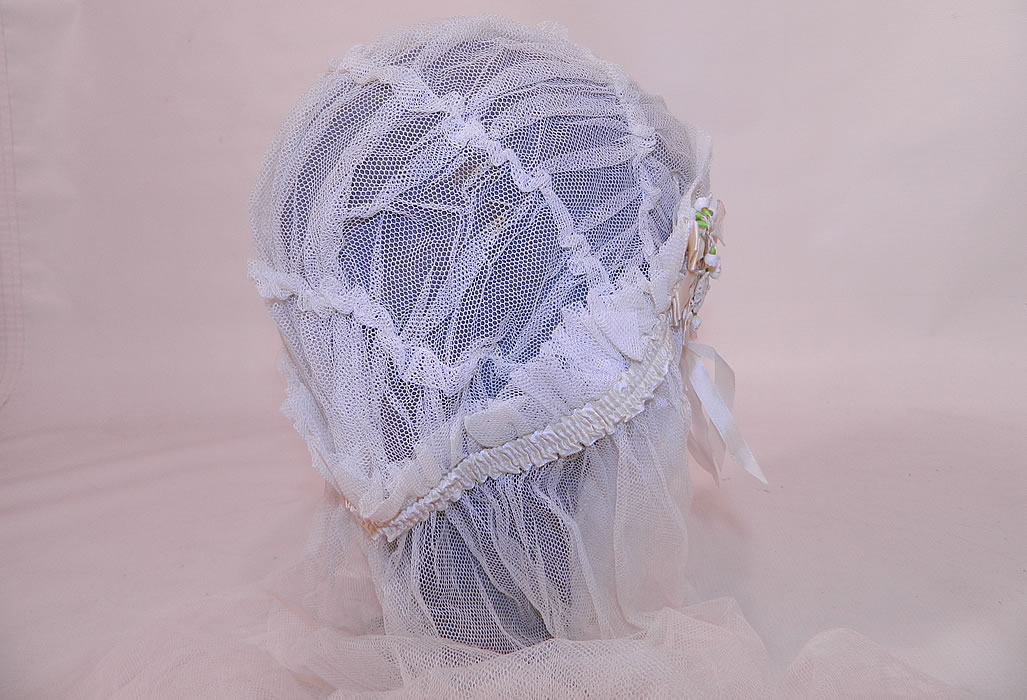 Vintage White Net Lace Silk Ribbon Bridal Bonnet Cap Headpiece Wedding Veil. This beautiful bridal flapper wedding headpiece has a fitted bonnet cap style with ruched tucks gathers along the top and a long net veil hanging down the back.