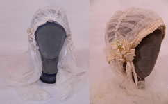 Vintage White Net Lace Silk Ribbon Bridal Bonnet Cap Headpiece Wedding Veil