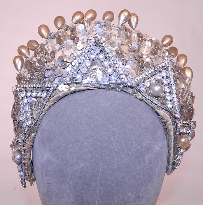 Vintage Sequin Pearl Rhinestone Beaded Tiara Crown Costume Flapper Headpiece. This vintage sequin, pearl, rhinestone beaded tiara crown costume flapper headpiece dates from the 1940s.