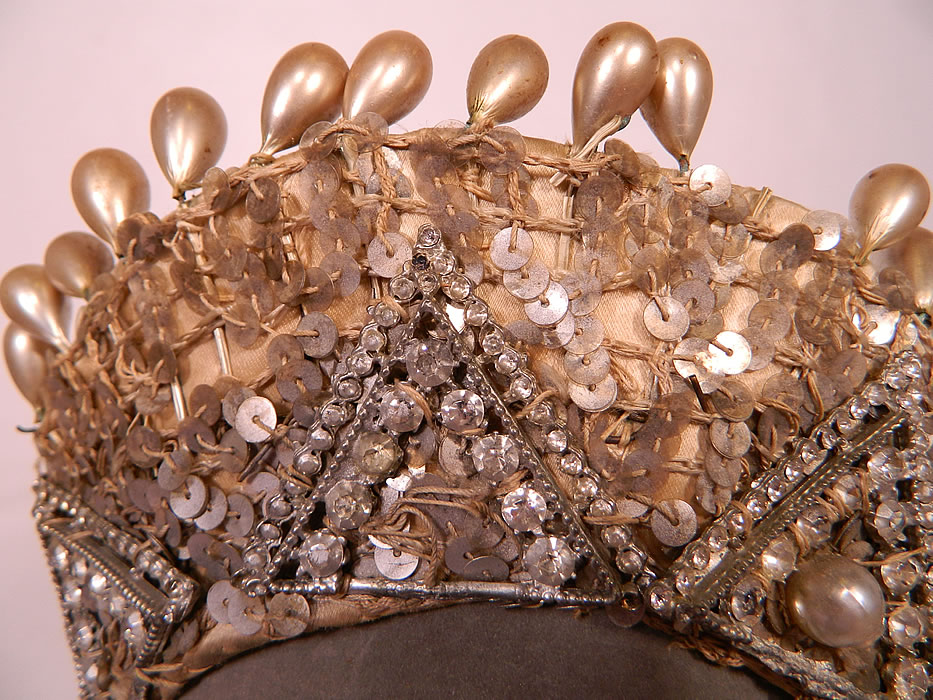 Vintage Sequin Pearl Rhinestone Beaded Tiara Crown Costume Flapper Headpiece. This fabulous flapper Art Deco style showgirl dance costume headpiece has a diadem tiara crown style, with large pearl droplets fastened along the top and an elastic band on the back for securing on the back of the head.