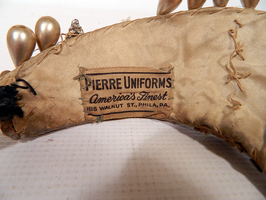 "Vintage Sequin Pearl Rhinestone Beaded Tiara Crown Costume Flapper Headpiece. There is a ""Pierre Uniforms America's Finest"" label sewn inside."