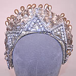 Vintage Sequin Pearl Rhinestone Beaded Tiara Crown Costume Flapper Headpiece