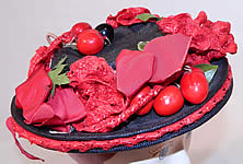 Vintage Red Straw Roses Cherries Small Skimmer Boater Tilt Hat Fascinator