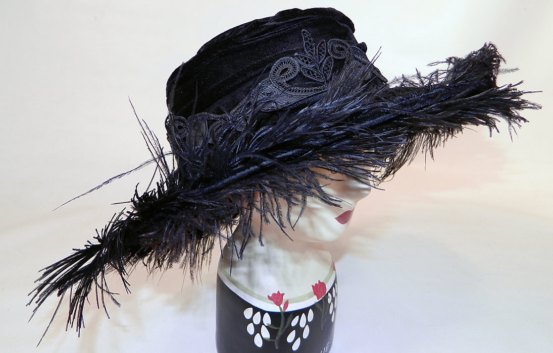Edwardian Vintage Madame Gatecliff Modiste Black Velvet Lace Feather Trim Wide Brim Hat. There are two rhinestone encrusted hat pins, one long and one short.