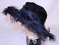 Edwardian Vintage Madame Gatecliff Modiste Black Velvet Lace Feather Trim Wide Brim Hat