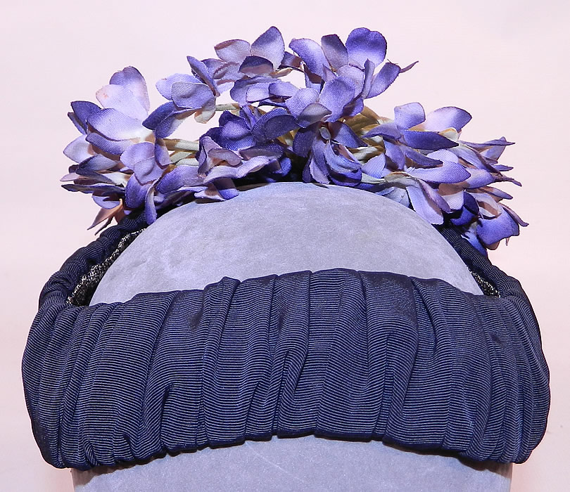 Vintage Black Silk Grosgrain Ribbon Purple Violet Flower Fascinator Hat