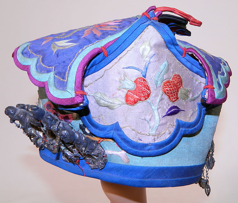 Antique Chinese Child Infant Silk Embroidered Silver Immortals Charm Wind Hat. 